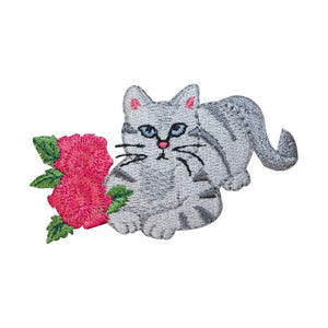 ID 2908 Cat With Flowers Patch Kitten Kitty Pet Embroidered Iron On Applique