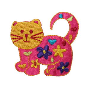ID 2929 Happy Cat Emblem Patch Kitten Symbol Craft Embroidered Iron On Applique