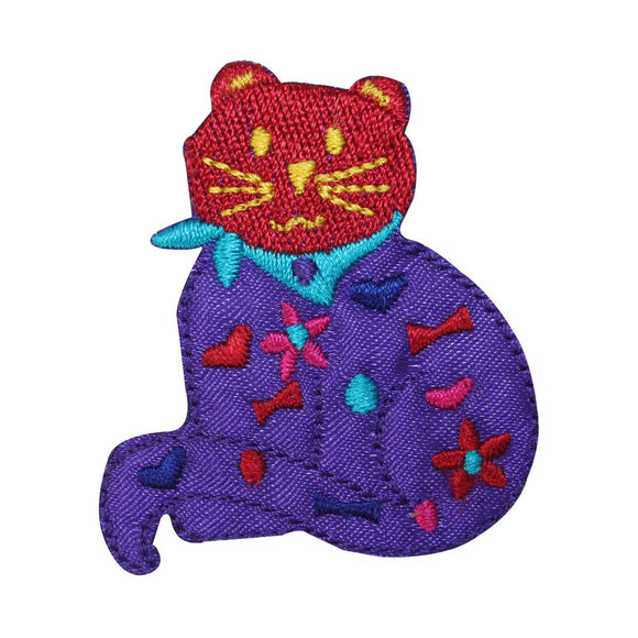 ID 2930 Happy Cat Emblem Patch Kitten Symbol Craft Embroidered Iron On Applique