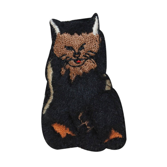ID 3029 Fluffy Cat Patch Fuzzy Black Kitten Kitty Embroidered Iron On Applique