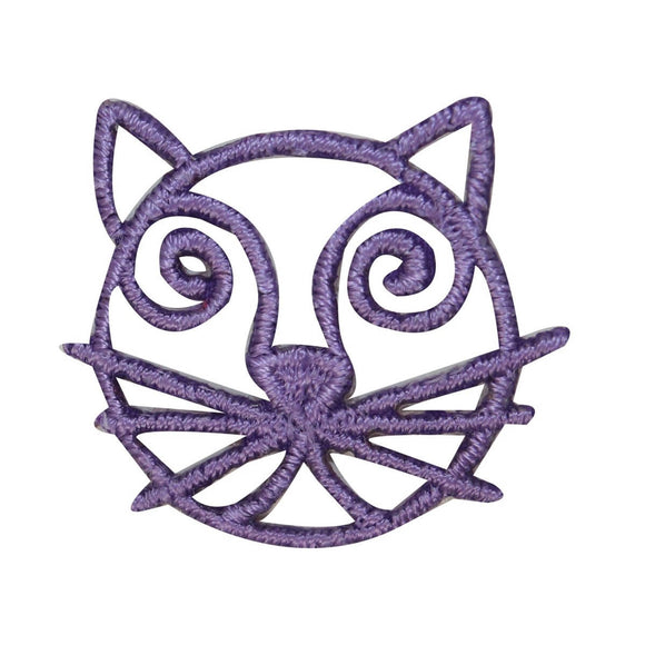 ID 3036C Cat Face Emblem Patch Kitten Symbol Craft Embroidered Iron On Applique