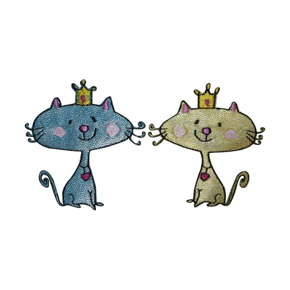 ID 3039AB Set of 2 Cartoon King Queen Cat Patches Embroidered Iron On Applique