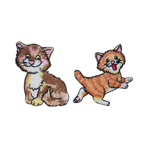 ID 3040AB Set of 2 Happy Kitten Patches Cat Kitty Embroidered Iron On Applique