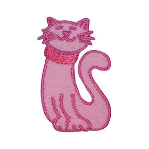 ID 3047A Smiling Cat Emblem Patch Kitten Kitty Pet Embroidered Iron On Applique