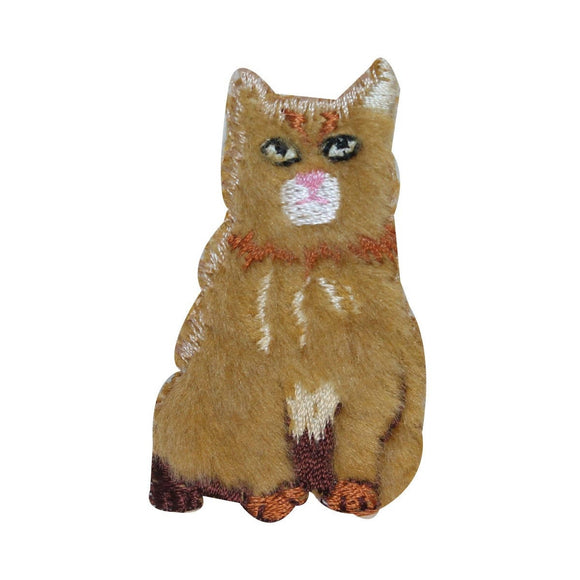 ID 2981 Fluffy Cat Sitting Patch Furry Kitten Kitty Embroidered Iron On Applique