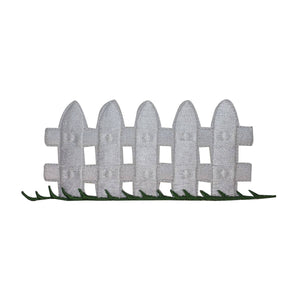 ID 3101 White Picket Fence Patch Yard Gate Board Embroidered Iron On Applique