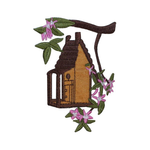 ID 3104 Bird House On Branch Patch Wood Cabin Tree Embroidered Iron On Applique