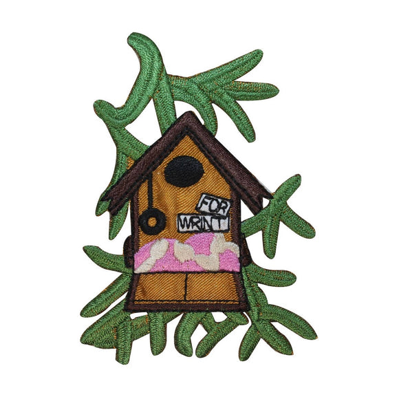 ID 3107 Bird House With Leaves Patch Tree Home Embroidered Iron On Applique