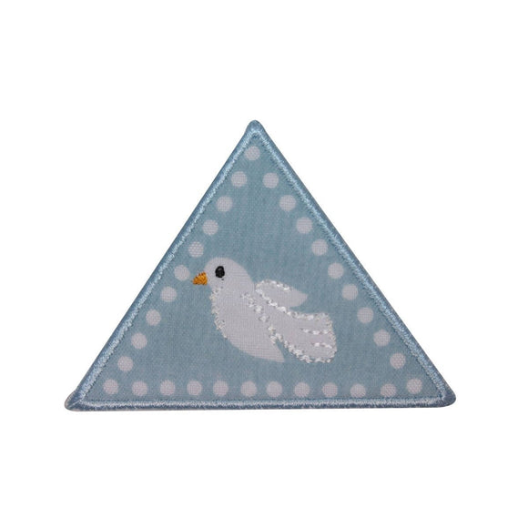 ID 3118 Triangle Badge Dove Patch Peace Craft Embroidered Iron On Applique