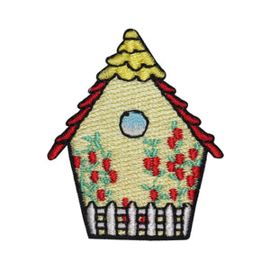 ID 3123B Floral Bird House Patch Nature Watching Embroidered Iron On Applique