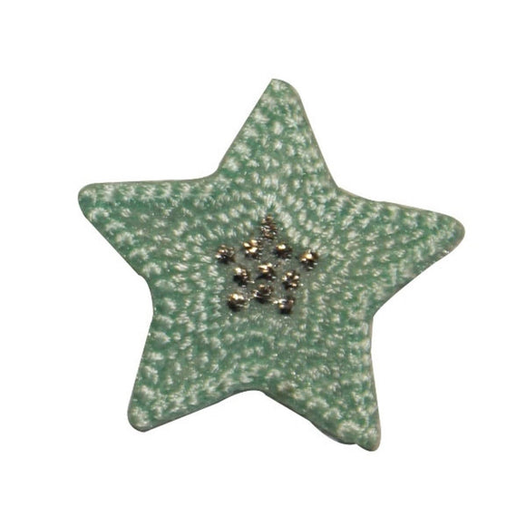 ID 3453A Textured Star Patch Night Sky Shiny Symbol Embroidered Iron On Applique
