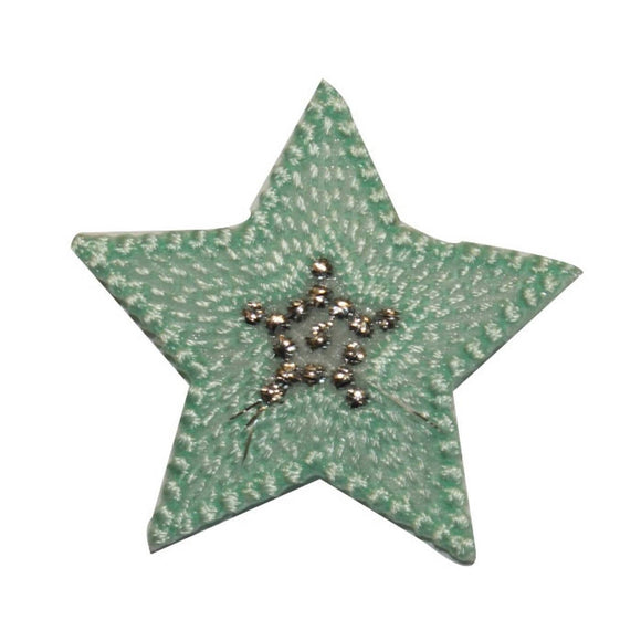 ID 3453B Textured Star Patch Night Sky Shiny Symbol Embroidered Iron On Applique