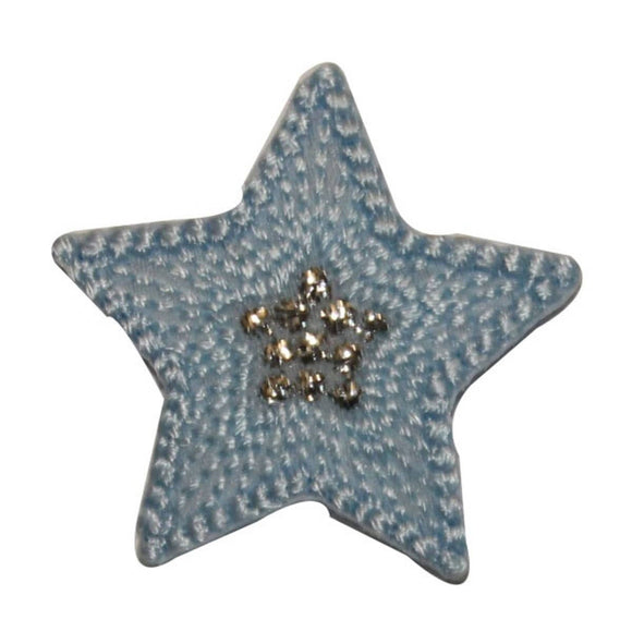 ID 3454A Textured Star Patch Night Sky Shiny Symbol Embroidered Iron On Applique