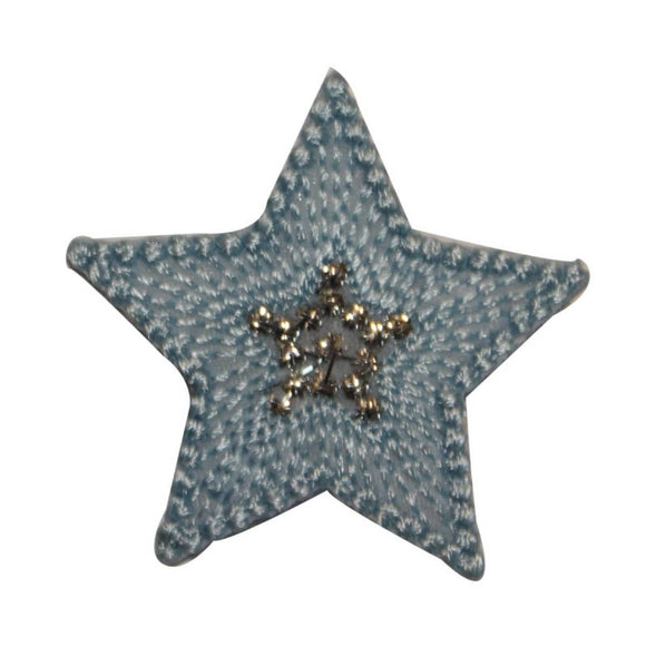 ID 3454B Textured Star Patch Night Sky Shiny Symbol Embroidered Iron On Applique