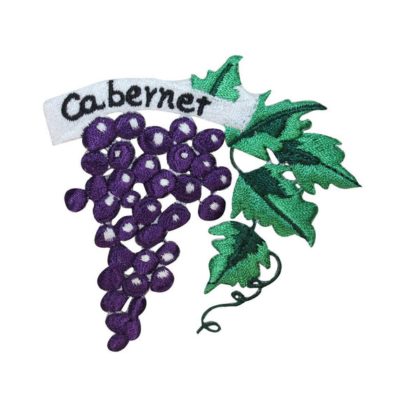 ID 3168 Cabernet Wine Grapes Patch Vintage Red Embroidered Iron On Applique