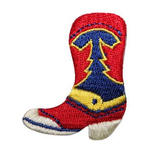 ID 8785 Western Cowboy Boot Patch Work Shoe Riding Embroidered Iron On Applique