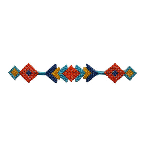 ID 8796 Multicolor Geometric Trim Patch Strip Band Embroidered Iron On Applique