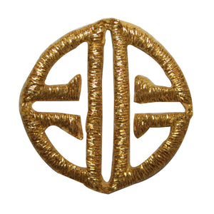 ID 8803 Round Gold Symbol Patch Craft Design Emblem Embroidered Iron On Applique