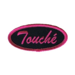 Touche Name Tag Patch Novelty Pink Symbol Sign Embroidered Iron On Applique