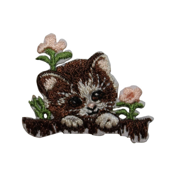 ID 3623 Cute Kitten In Flowers Patch Cat Pet Kitty Embroidered Iron On Applique