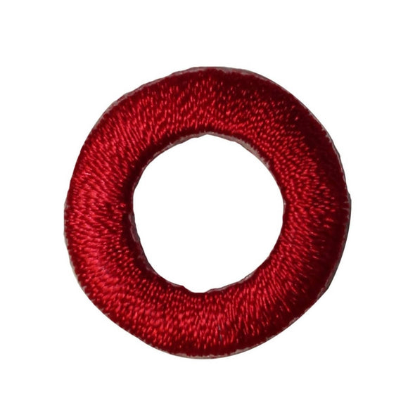 ID 3628 Red Circle Patch O Loop Hole Craft Embroidered Iron On Applique