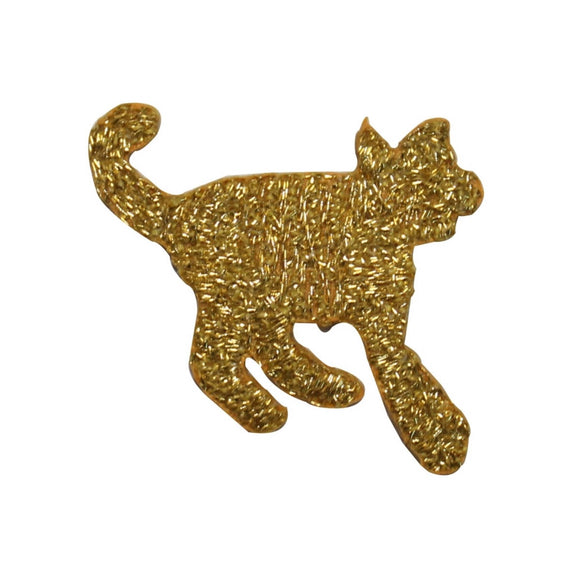 ID 3577 Gold Cat Silhouette Patch Craft Emblem Embroidered Iron On Applique