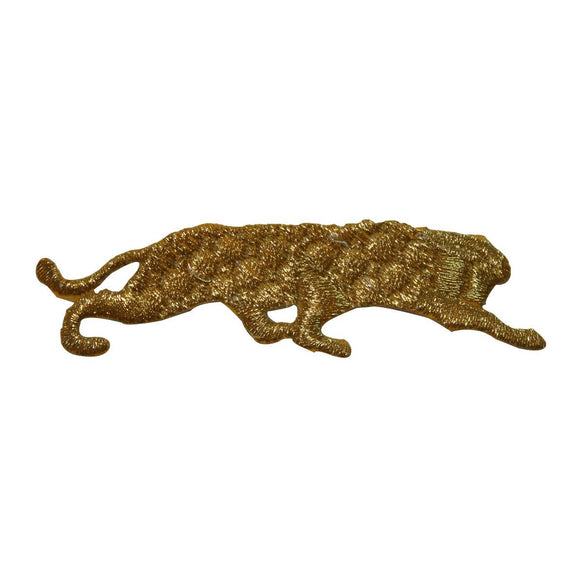 ID 3597 Gold Panther Silhouette Patch Wild Cat Embroidered Iron On Applique