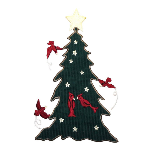 ID 5125 Big Christmas Tree Patch Cardinal Birds Felt Embroidered IronOn Applique
