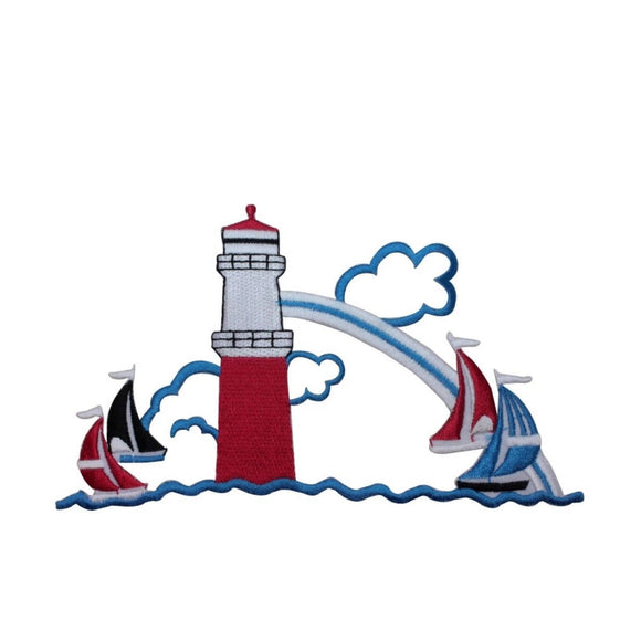 ID 5016 Lighthouse With Sail Boats Large Patch Ocean Embroidered IronOn Applique