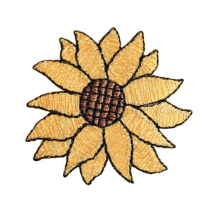 ID 6014 Gold Sunflower Blossom Patch Sun Flower Seed Embroidered IronOn Applique
