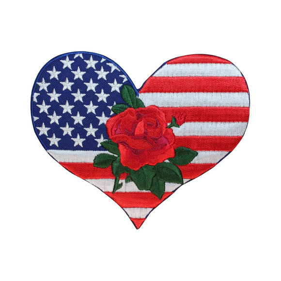 ID 5048 USA Flag Heart Large Patch Rose America Embroidered Iron On Applique