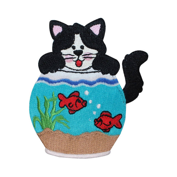 ID 5057 Cat Playing Fish Bowl Patch Kitten Aquarium Embroidered Iron On Applique
