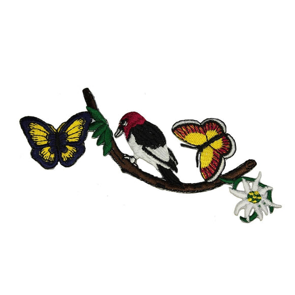 ID 5061 Bird On Tree Branch Patch Butterfly Nature Embroidered Iron On Applique