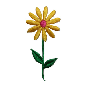 ID 6063 Yellow Daisy On Stem Patch Flower Garden Embroidered Iron On Applique