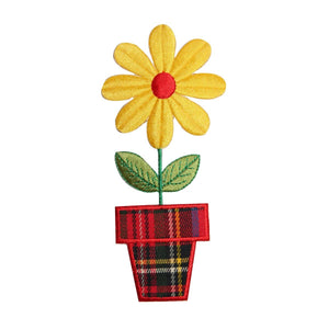 ID 6086 Plaid Potted Flower Patch Daisy Garden Bloom Embroidered IronOn Applique