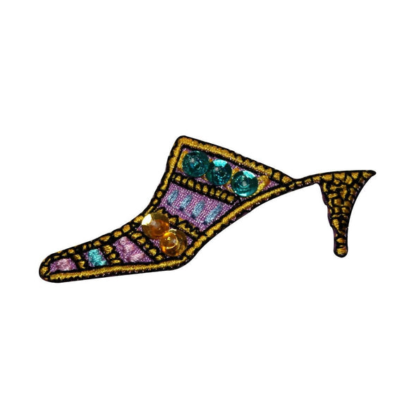 ID 6230 Sequin High Heel Patch Fancy Shoe Dance Embroidered Iron On Applique