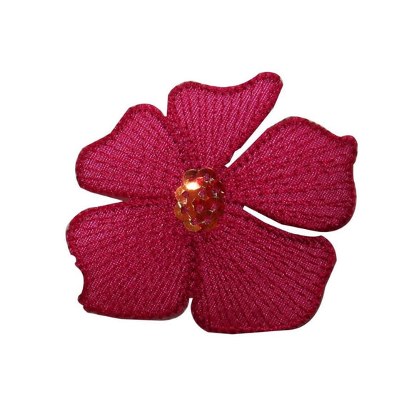 ID 6255 Red Sequin Poinsettia Patch Flower Holiday Embroidered Iron On Applique