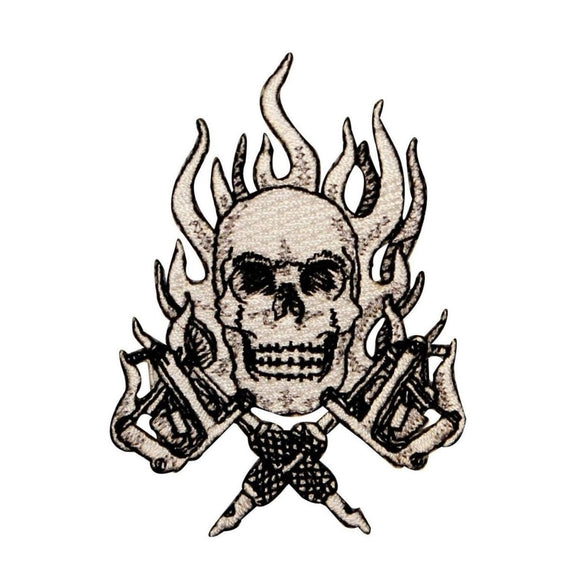 Flaming Skull Tattoo Guns Patch Biker Ink Skeleton Embroidered Iron On Applique