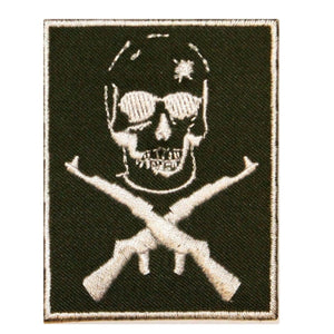 Skull Cross Bones Rifles Patch Soldier Death Badge Embroidered Iron On Applique