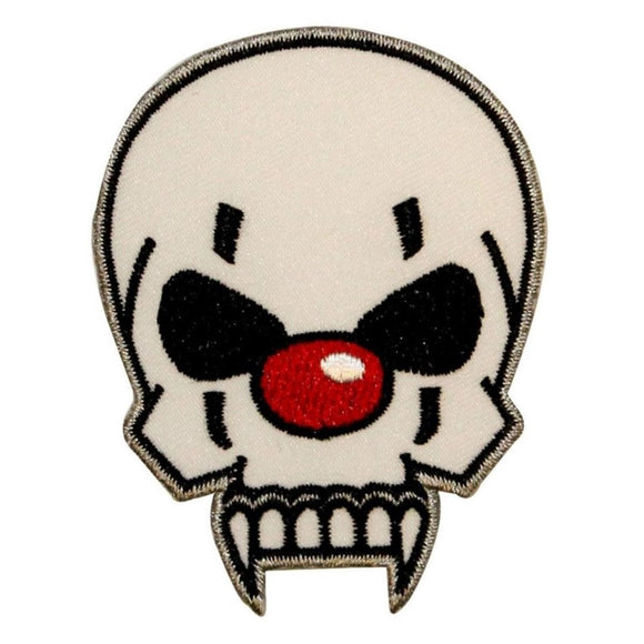 Evil Clown Skull Face Patch Red Nose Biker Badge Embroidered Iron On Applique