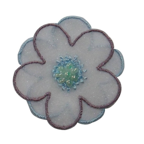 ID 6414 Purple lace 3D Flower Patch Layered Garden Embroidered Iron On Applique
