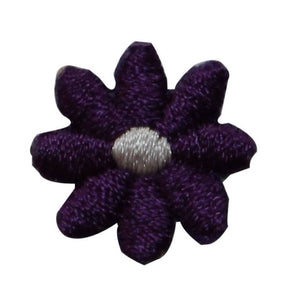 ID 6417 Lot of 3 Purple Flower Bloom Patch Garden Embroidered Iron On Applique