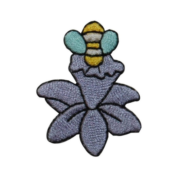 ID 6419 Bell Flower Honey Bee Patch Plant Garden Embroidered Iron On Applique