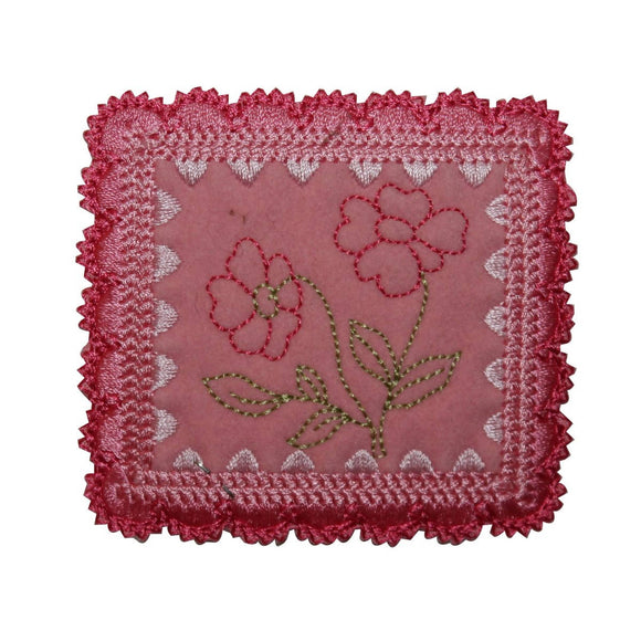 ID 6347 Pink Framed Flower Patch Picture Badge Sign Embroidered Iron On Applique