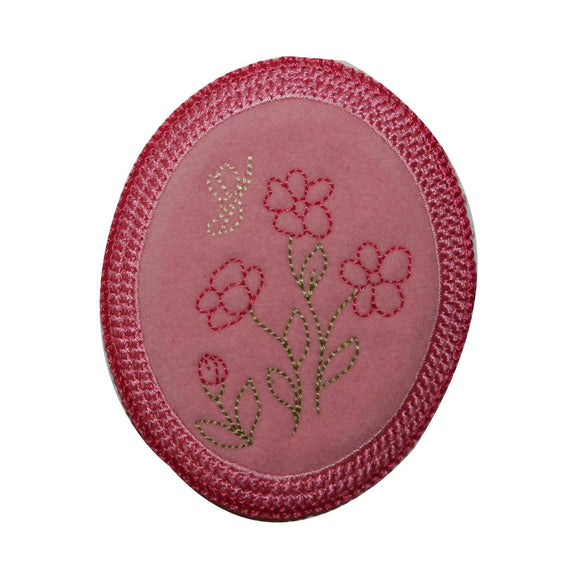 ID 6348 Pink Framed Flower Patch Garden Badge Oval Embroidered Iron On Applique