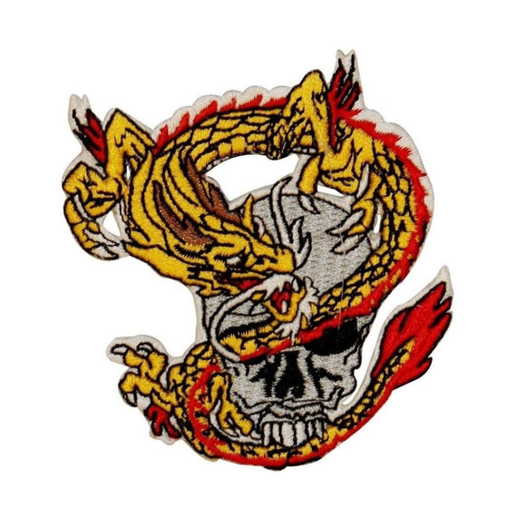 Yellow Dragon And Skull Patch Biker Death Creature Embroidered Iron On Applique
