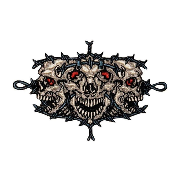 Tri Skulls Barb Wire Patch Biker Face Bones Death Embroidered Iron On Applique