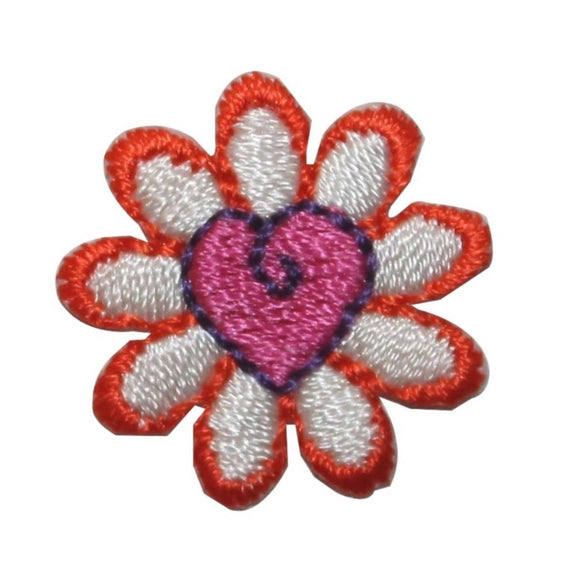 ID 6381 Pink Heart Flower Head Patch Blossom Craft Embroidered Iron On Applique