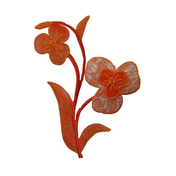 ID 6395 Orange Lace Flowers Patch Garden Symbol Embroidered Iron On Applique
