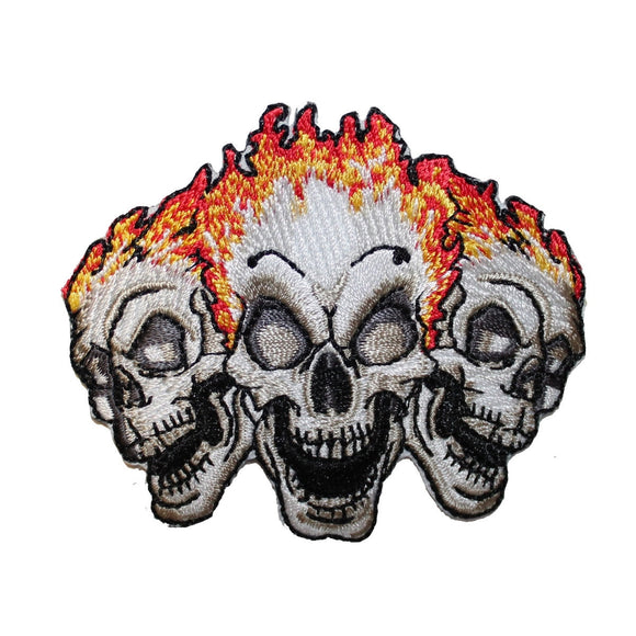 Three Skulls On Fire Biker Patch Trio Death Tattoo Embroidered Iron On Applique